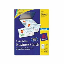 Avery Two Side Printable Business Cards Inkjet 2 x 3-1/2 White Matte 250/Pack