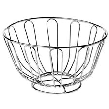 Fruit Bowl Basket Holder Food Storage Chrome Metal Wire Silver New Product