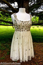 NWD Free People champagne Shine So Bright Dress tulle lace beads pearls 8 $350