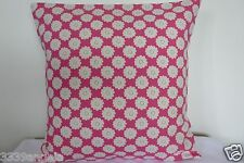 "16"" NEW CUSHION COVER CLARKE DITZY DAISY FLOWERS RASPBERRY RED CRIMSON  MINT"