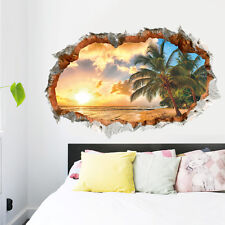 3D Beach Sunshine Wall Sticker Decal Art Decor Vinyl Home Room Window Door Mural