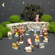 Vintage French Provence Feves Miniature Creche Santons Nativity Figurines 15 pcs