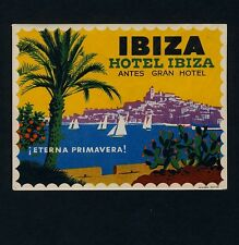 Hotel Ibiza IBIZA Spain / Sailing Palm Tree * Old Luggage Label Kofferaufkleber