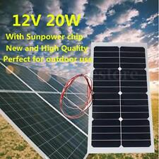 20W 12V Monocrystalline Solar Panel Battery Charger Semi Flexible & 3M Cable