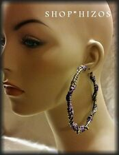 """RED, PURPLE, GOLD FABRIC LARGE 3.5"""" HOOP EARRINGS NEW"""