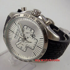 48mm Parnis silver Dial Full chronograph date window quartz mens wrist Watch