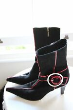 Baldinini Suede Leather Ankle Boots EU 38 UK 5 Black w/ Red Stripe Detail