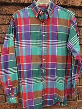 vtg 90s Polo Ralph Lauren 100% COTTON MADRAS plaid button up collared shirt M L