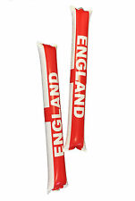 PAIR OF ENGLAND RUMBLE BANG STICKS BLOW UP INFLATABLE NOISEMAKER EURO'S FOOTBALL
