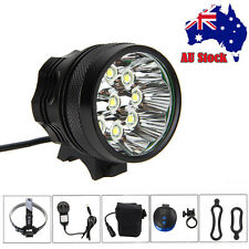 18000Lm 9xCREE T6 LED Bike Bicycle Head Light Headlamp 12000mAh+Laser Rear Light