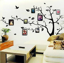 Chic Black Family Photo Frame Tree Mural Wall Sticker Home Decor Decals US