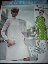 1968 VOGUE COUTURIER DESIGN #1913- DESIGNER MICHAEL OF LONDON PATTERN w/LABEL 12
