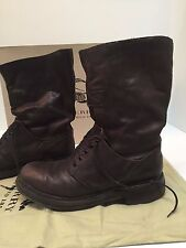 Burberry Prorsum Fall 2010 Leather Mid Calf Lace Boots Mens Runway Size 42 US 9