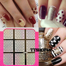 Two Way Nail Art Hollow Laser Silver Stencil Stickers Vinyls Hearts Valentines