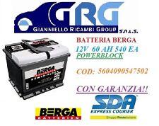 BATTERIA PER AUTO BERGA POWERBLOCK  12V 60 AH 540 EA DI SPUNTO  560409054-7502