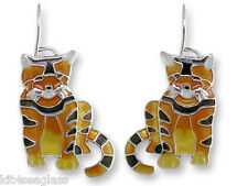 Zarah Zarlite Golden TABBY CAT EARRINGS Sterling Silver Plated Enamel - Boxed