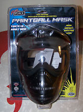 RIVAL FORCE BLACK PAINTBALL MASK HIGH IMPACT ANTI-FOG PECC YOUTH LG/ADULT MED