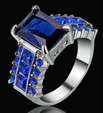 Size 8 Princess Cut Blue Sapphire Band Women's 10K White Gold Filled Gift Ring