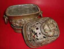 QING DYNASTY CHINESE DRAGON Chasing the FLAMING PEARL w/ FOO DOGS Bronze Censer