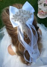 Flower Girl Bridesmaid  White Hair Accessory Headband Diamante Applique on Comb