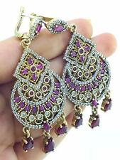 TURKISH HANDMADE JEWELRY 925 Sterling Silver Antique Ruby Earrings E2581