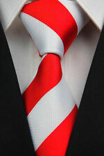 PRICED 2 GO! Mens Classic Double College Stripe 100% Silk Necktie Tie Red White