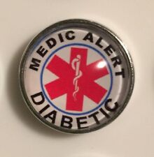 DIABETIC ALERT RED SNAP BUTTON JEWELRY,BUTTON CHARMS 18-22MM CHUNK