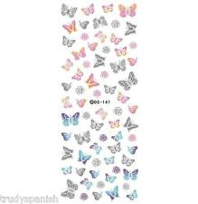 Nail Art Water Decals Stickers Neon Lace Effect Butterflies Butterfly Gel Polish