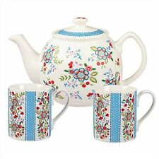 The CARAVAN TRAIL Hippie Floral TEA FOR TWO Teapot + 2 Mugs Set