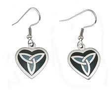 Silver Plated and Green Enamel Heart and Celtic Trinity Ear Wire Earrings (7859)