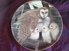 LIMOGES BARN OWL PLATE EMBRACING CHICKS NATIONAL AUDUBON SOCIETY 1983 RUDISILL