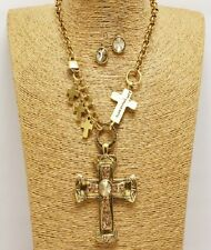 Gold and Topaz Crystal Cross Charm Necklace Set
