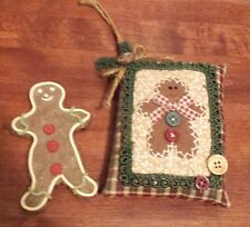 Country Decor Gingerbread Man Christmas Ornament and Gingerbread Man Fake Cookie