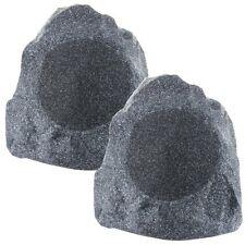 """8"""" Woofers Outdoor Garden Waterproof Granite Rock Patio Speaker Pair Granite"""