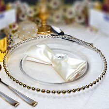 GLASS CHARGER PLATE BEADED GOLD XMAS EVENTS WEDDINGS 33CM DIAMETER