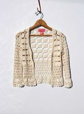 BETSEY JOHNSON.........Vintage Crochet Knit & Satin Ribbon Cardigan Sweater Top