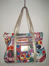 Coach Poppy Glam Tote Signature C Pop Art Gold Metallic Leather Bag 13839