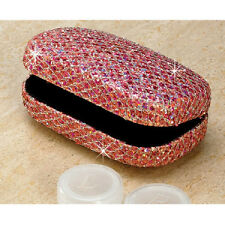 Pink Glitter Contact Lens Hard CASE With Mirror NEW Deluxe Lipstick Case Holder
