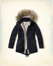 NWT Hollister by Abercrombie Sherpa Lined Faux Fur Hoodie Parka Jacket Blue S
