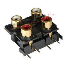 CONNETTORE RCA DA PANNELLO DOPPIO HIEND RCs14 24k audiophile panel chassis mount