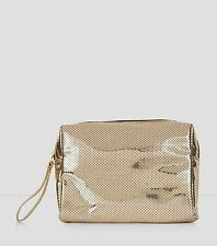 New Look Gold Metallic Perforated Pouch Bag