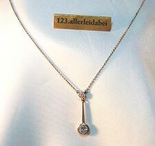 Dezente Lavaliere 585 er Gold & Platin Kette Diamant Collier Anhänger / AU 253