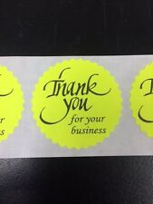 """500 THANK YOU FOR YOUR BUSINESS 2"""" STICKER Starburst YELLOW NEON NEW THANK YOU"""