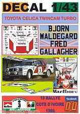 DECAL 1/43 TOYOTA CELICA TWINCAM TURBO B.WALDEGARD COTE D´IVOIRE 1986 1st (01)