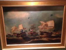 18th Century 'Battle of the Nile' Sea Battle Maritime Oil Painting