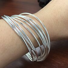 BANGLE 10 INTERLOCKING RINGS 925 SOLID SILVER BRACELET 7CM 2MM FREE SHIPPING