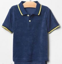 NEW Baby GAP Toddler Boys 2T Blue French Terry Short Sleeve Polo Shirt