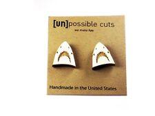Unpossible Cuts Shark White Wood Wooden Earrings Jewelry