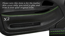 GREEN STITCH 2X FRONT DOOR CARD TRIM SKIN COVERS FITS HONDA CIVIC COUPE 92-95