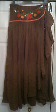 NEW! Sz 6-8 Crinkle Wrap Front Light Brown Midi Skirt Floral Embroidered Waist